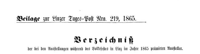 Auszug aus der Linzer Tagespost vom 25.6.1865, Seite 5, Quelle: Anno der Österreichischen Nationalbibliothek