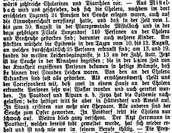1866 Freie Presse Cholera