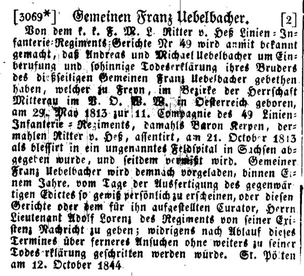 1844 10 21 Wiener Zeitung Ausschnitt Übelbacher Franz